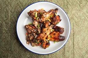 Spinach and Agushi Supper Club - Suya Seasoned Chicken Wings