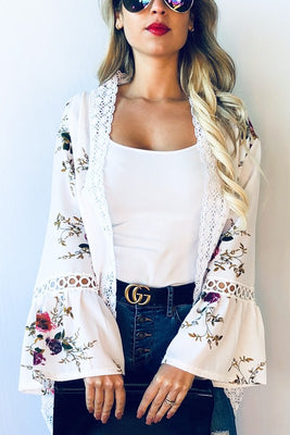 ROSA FLORAL BELL SLEEVE KIMONO