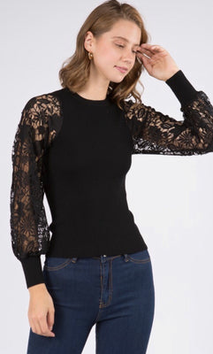 ALI LACE SLEEVE SWEATER