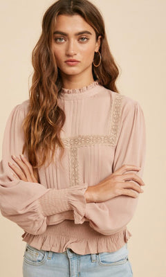 JULIET CROCHET LACE LONG SLEEVE TOP