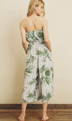 KAIYA TROPICAL STRAPLESS JUMPSUIT