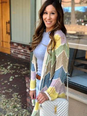 OLIVE CHEVRON CARDIGAN SWEATER