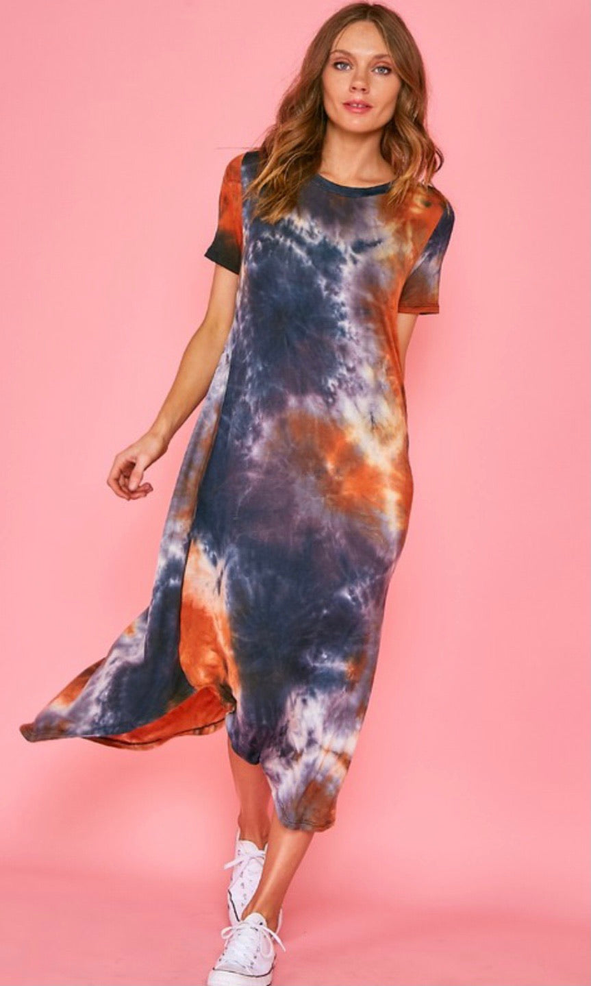 SOLAR TIE DYE T-SHIRT DRESS