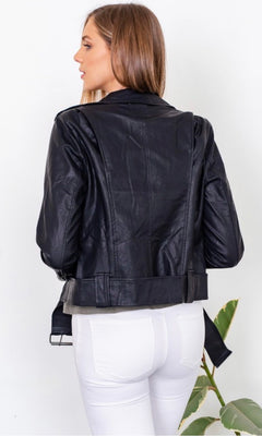 VERA BLACK VEGAN LEATHER JACKET