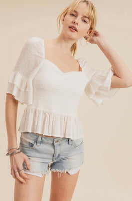 LOLA WHITE SMOCKED TOP