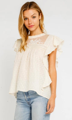 AUDREY SWISS DOT RUFFLE SLEEVE TOP
