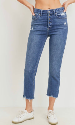 KATE BUTTON DOWN HIGH RISE STRAIGHT JEANS