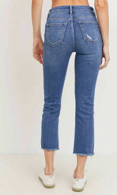 LEXI BUTTON DOWN HIGH RISE STRAIGHT JEANS