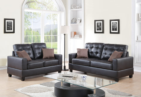 Faux Leather 2-Piece Sofa & Love Seat Set