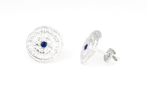 Prize draw Christmas silver sapphire earrings