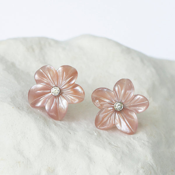 Earring jackets blush pink for diamond earstuds