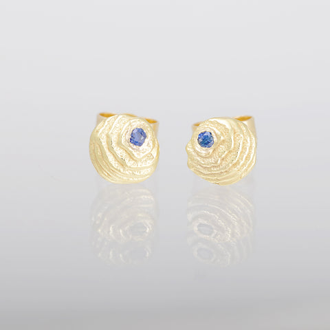 Gold and sapphire earstuds Sepia collection