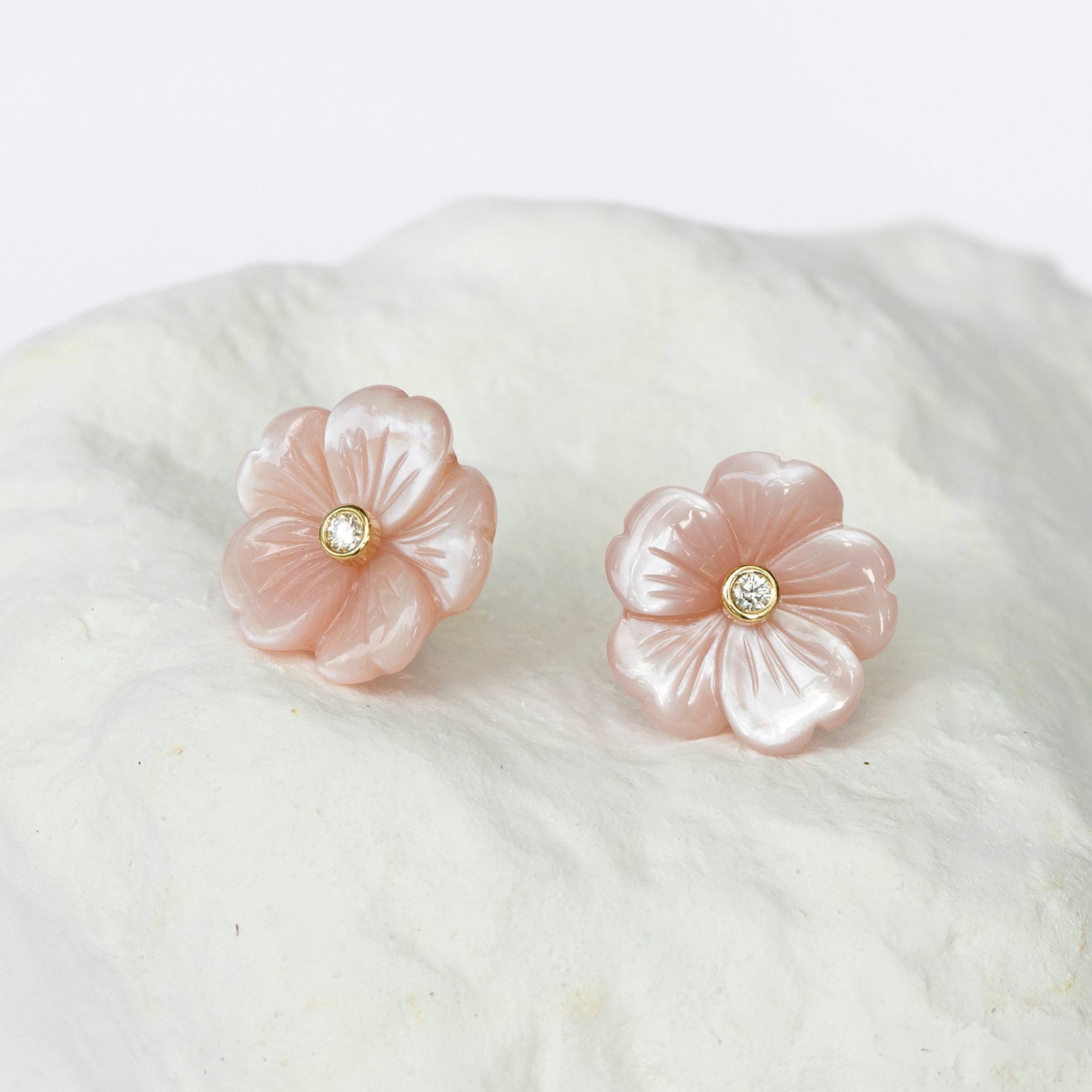 Blush pink Cherry Blossom mother-of-pearl flower studs medium size