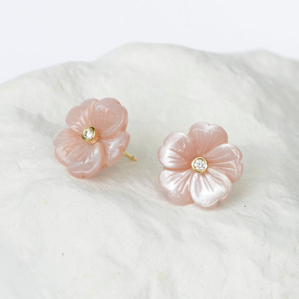 Amaranth pink flower earrings with diamond and gold centre