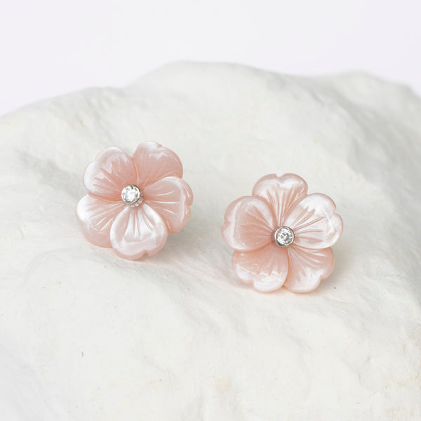 Blush pink Cherry Blossom earrings MOP