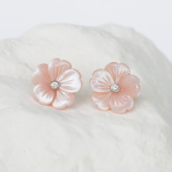 Blush pink Cherry Blossom earrings mother of pearl