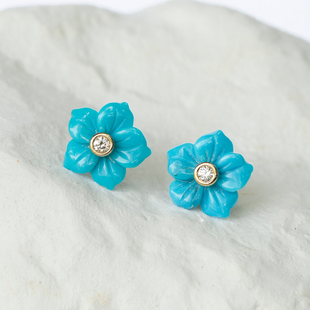 Turquoise Flower earrings yellow gold and diamond fittings