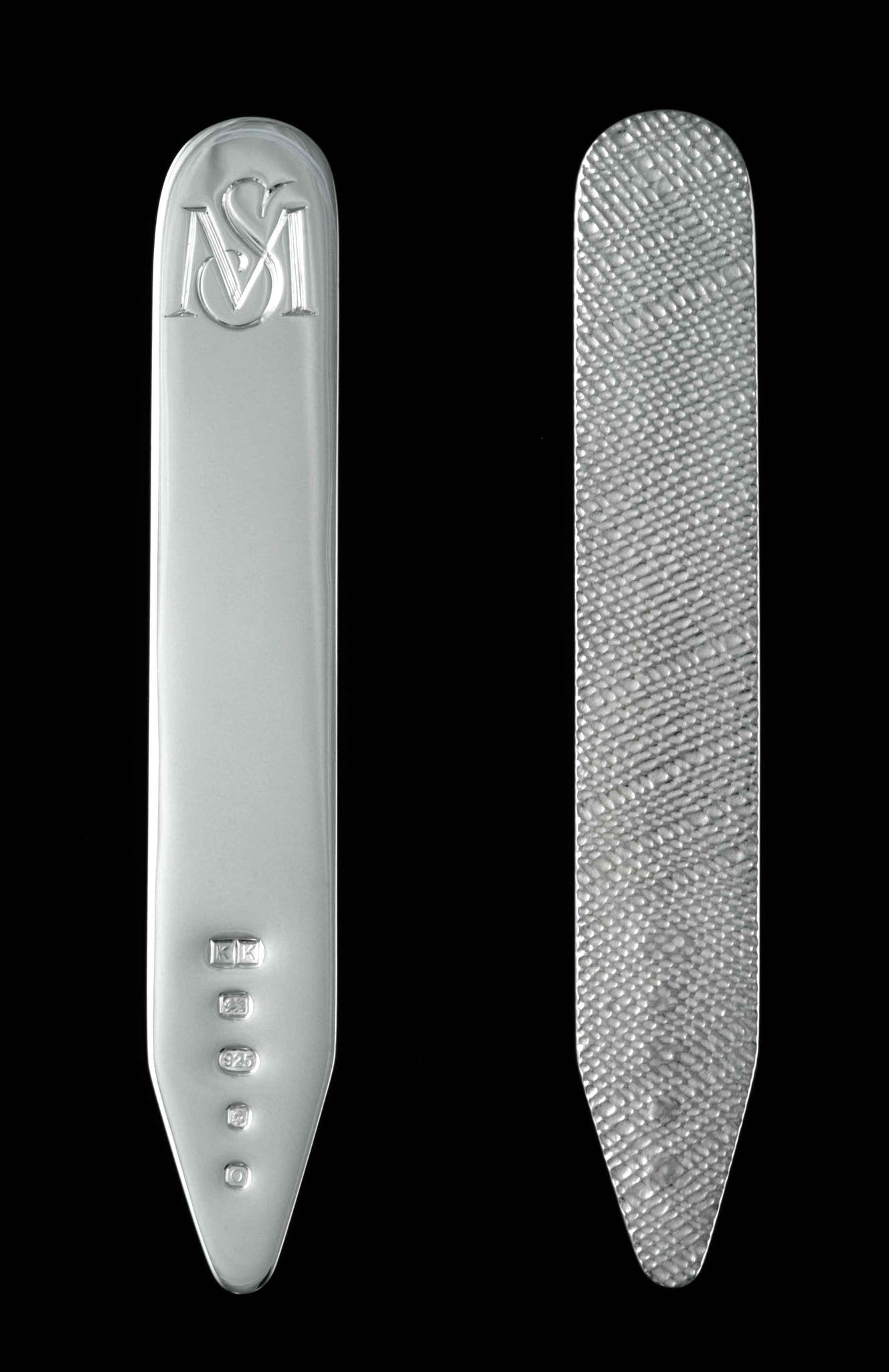 Sterling Silver Collar Stiffeners Bespoke engraved accessories for groom
