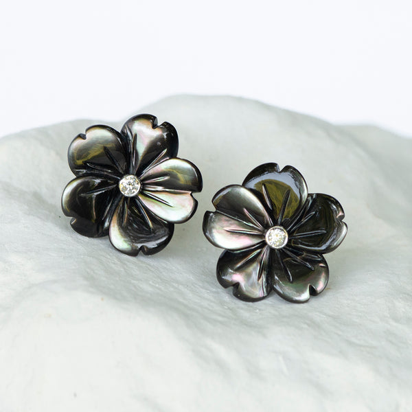 Dark grey Peacock Flower earstuds mother of pearl diamond and 18kt gold stud fittings white gold