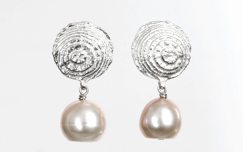 Silver and rose freshwater pearl earrings