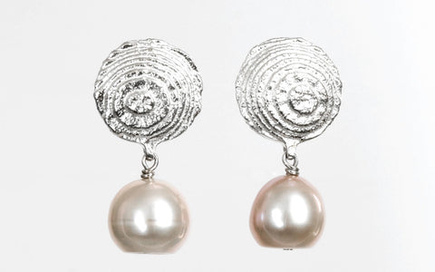 Sepia earrings Sterling Silver with pink freshwater pearl drops