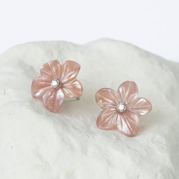 Handcarved flower earrings interchangeable pink mother of pearl