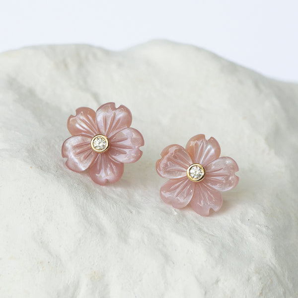 Floral earrings natural pink shell motherofpearl