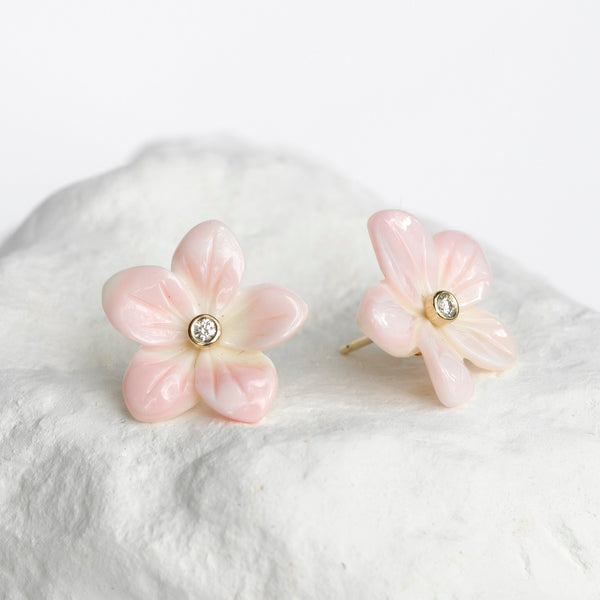 Plumeria Frangipani earrings yellow gold and diamonds