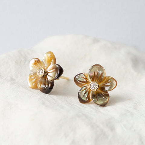 Golden brown mother of pearl flower earstuds