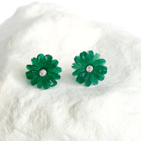 Green Daisy earrings small