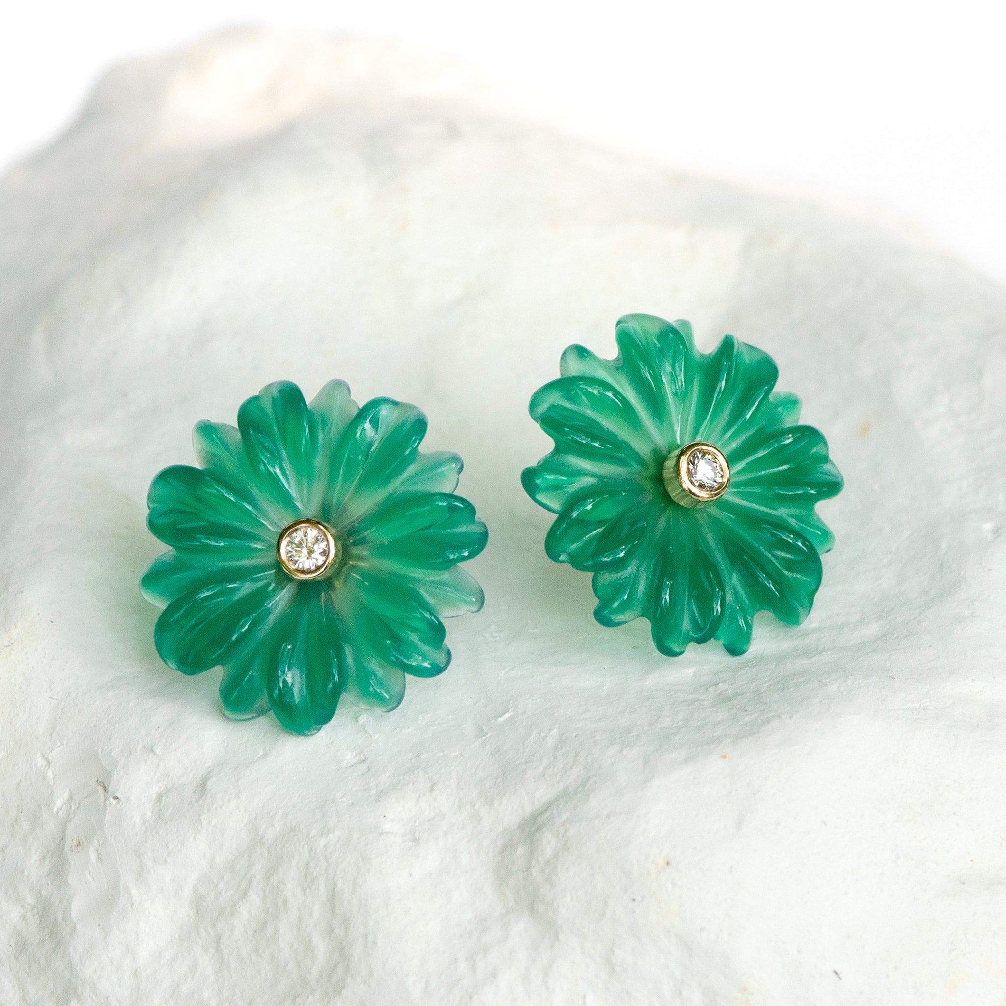 Green Agate Daisy earrings