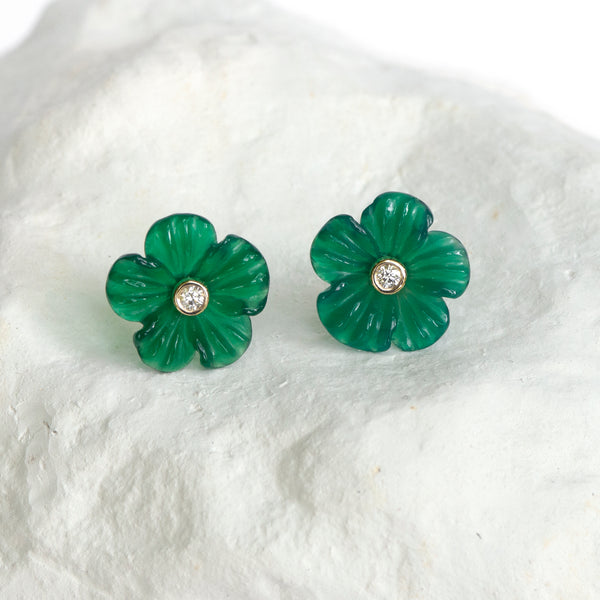 Green Agate Buttercup flower earrings