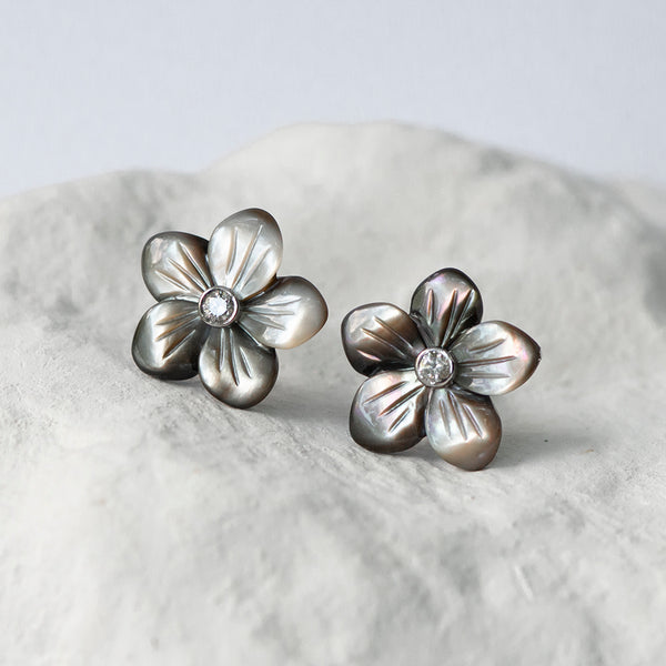 Grey peacock mother of pearl flower earstuds