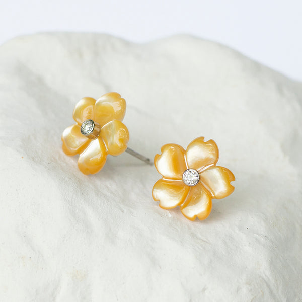 Lush yellow flower earrings diamond and white gold fittings