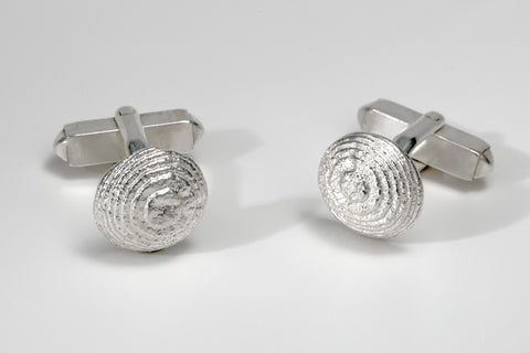 Round Shield Sepia Cufflinks
