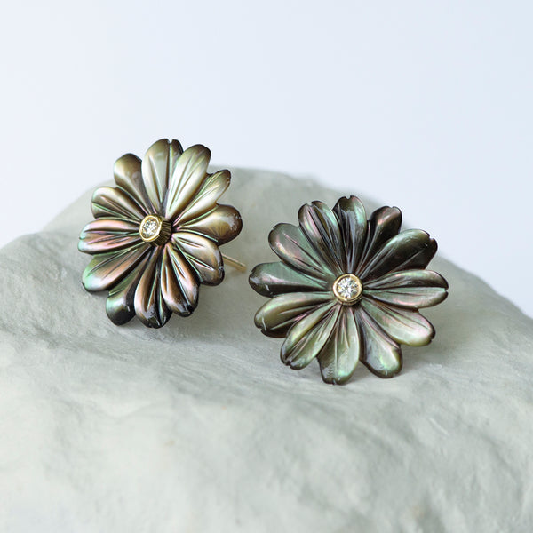 Olive grey Daisy Flower earrings