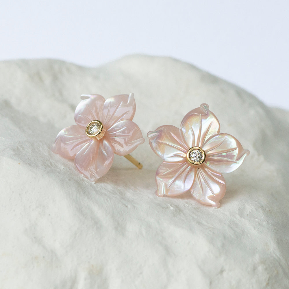 Blush pink casablanca lily floral earstuds with diamonds and 18kt yellow gold fitting