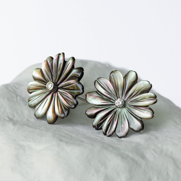 Peacock Daisy Flower earrings large