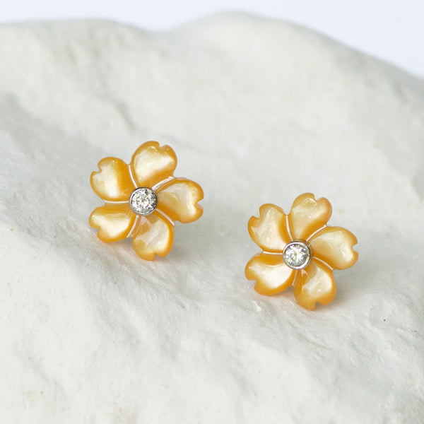 Canary yellow flower earstuds diamond set