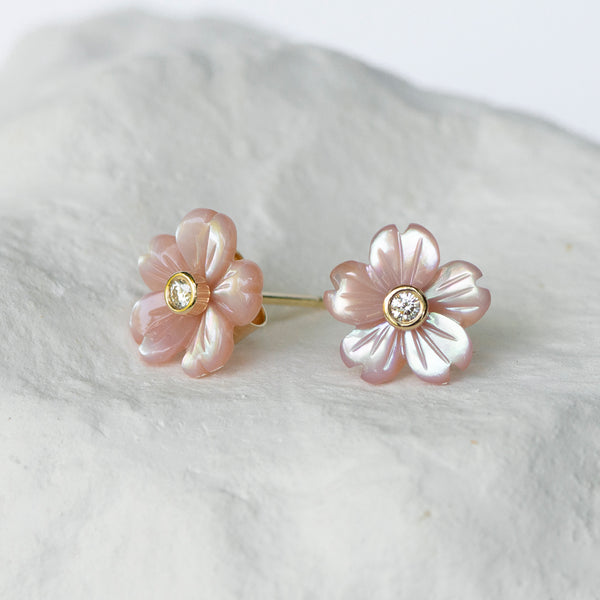 Blush pink Cherry Blossom mother-of-pearl flower studs
