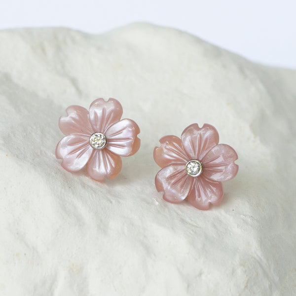 Pink mother-of-pearl earring jackets floral motif