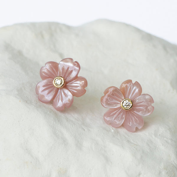 Pink mother of pearl flower ear studs with diamonds yellow gold