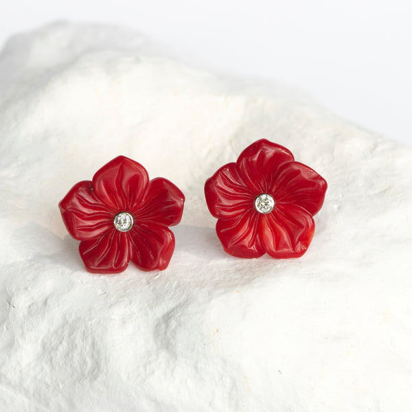 Red Bamboo Coral flower earrings