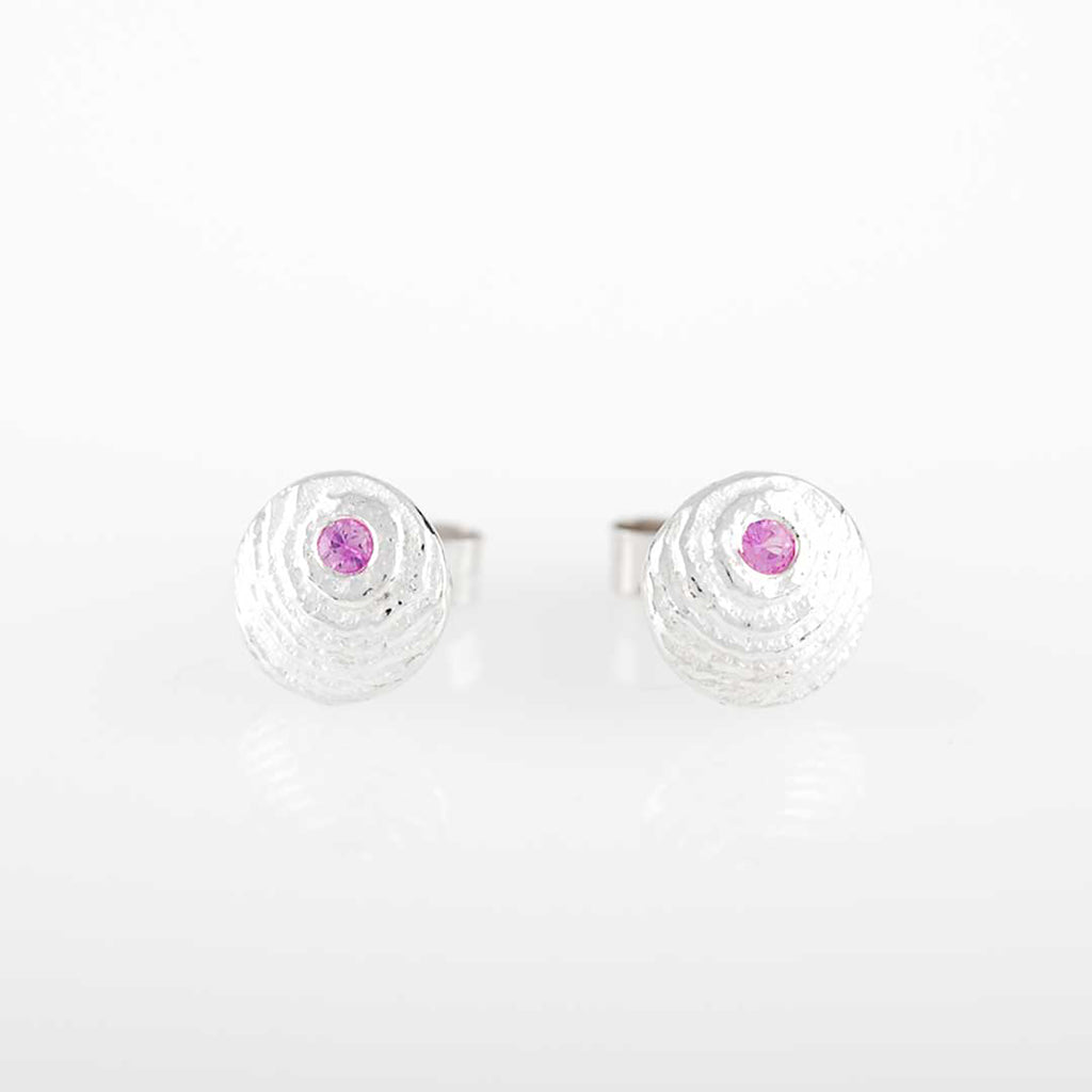 Sepia Silver Hot Pink Sapphire round earstuds