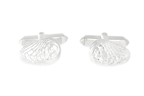 Bean-shaped Sepia Cufflinks - Sterling Silver