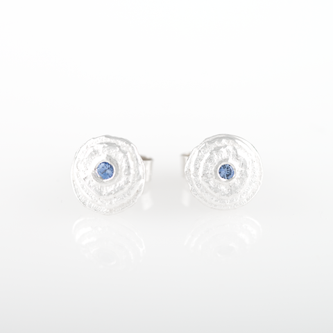 Sepia Silver Blue Sapphire round earstuds
