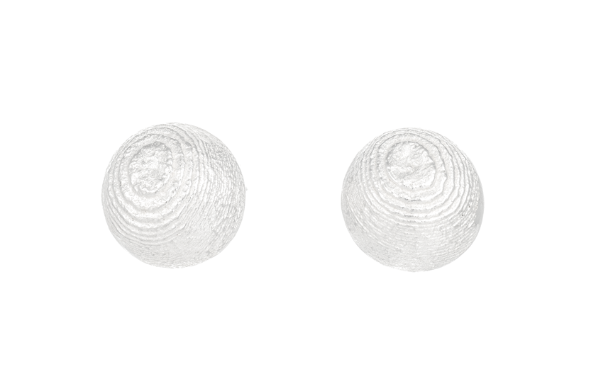 Round silver earstuds, domed and textured