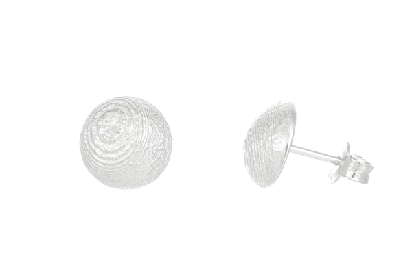 round silver earrings, textured