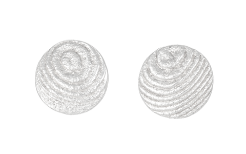 Round Sepia earstuds 13mm, Sterling Silver