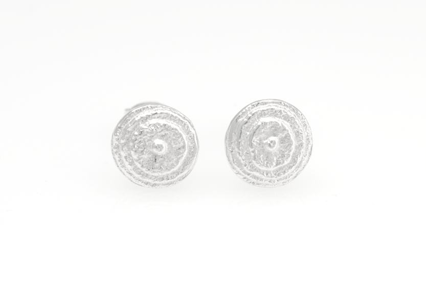 Round Sepia earstuds, Sterling Silver 8mm
